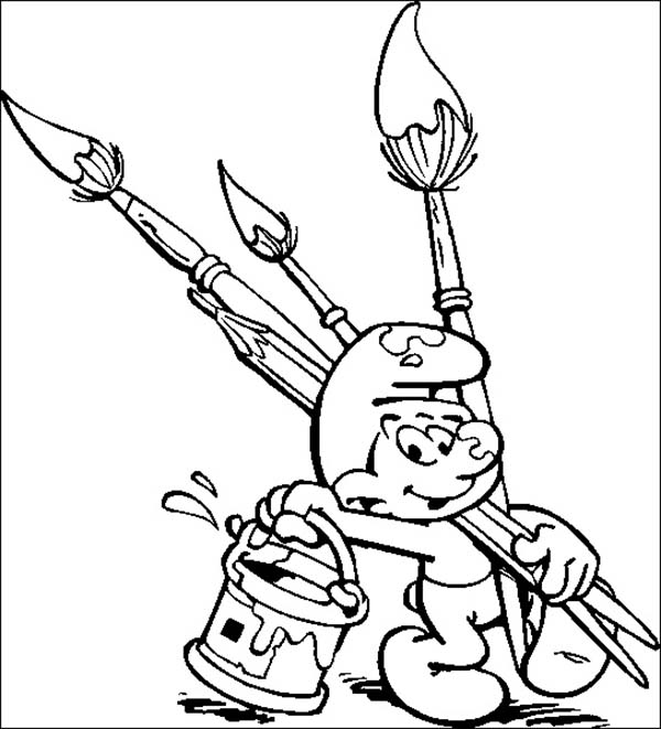 Paint, : Smurf Want to Paint Color Book Coloring Page