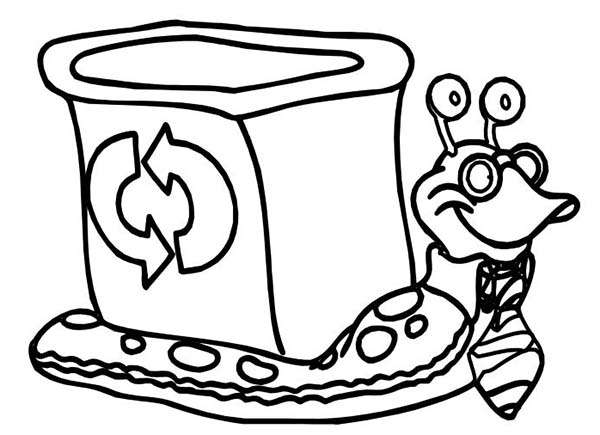 Recycling, : Snail  Carrying Recycling Bucket Coloring Page