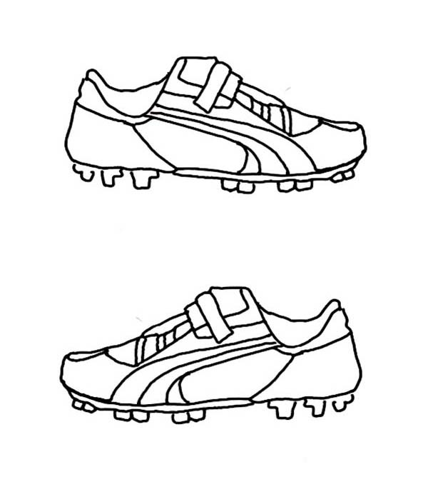 Shoes, : Soccer Shoes Coloring Page