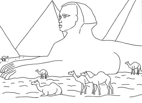 Pyramid, : Sphinx and Great Pyramid Picture Coloring Page
