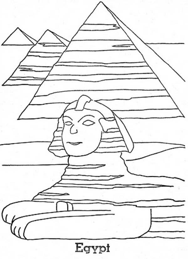 Pyramid, : Sphinx and Three Largest Pyramid of the World Coloring Page
