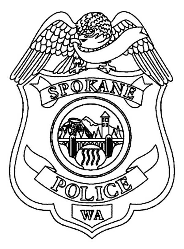 Police Badge, : Spokane Police Badge Coloring Page
