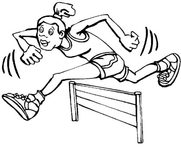 Olympic Games, : Sprint Hurdles Runner at Olympic Games Coloring Page