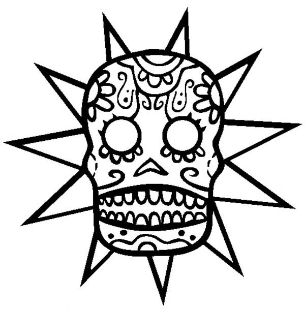 Skull, : Star Tribal Skull Coloring Page