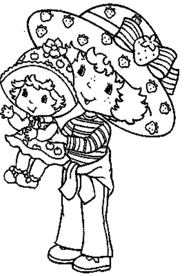 Strawberry Shortcake, : Strawberry Shortcake Carrying Her Sister Little Apple Dumplin Coloring Page