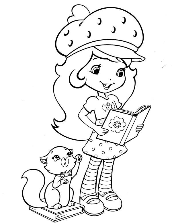 Strawberry Shortcake, : Strawberry Shortcake Cat Custard Calling for Her Coloring Page