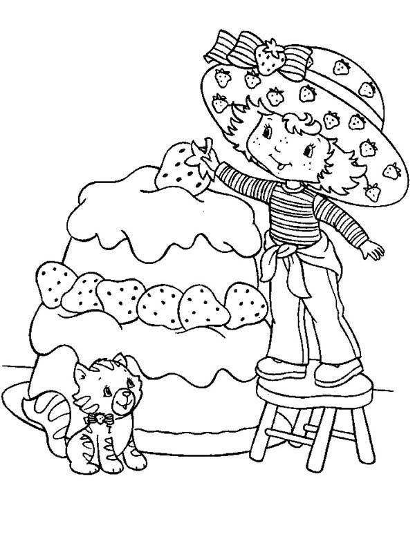Strawberry Shortcake, : Strawberry Shortcake Decorating Tart with Strawberry Coloring Page