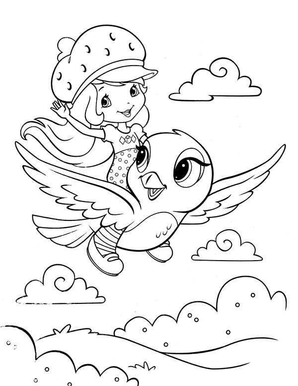 Strawberry Shortcake, : Strawberry Shortcake Flying Ride Coloring Page