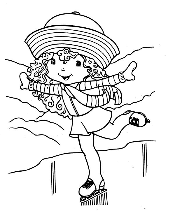 Strawberry Shortcake, : Strawberry Shortcake Ice Skating Slide with One Leg Coloring Page