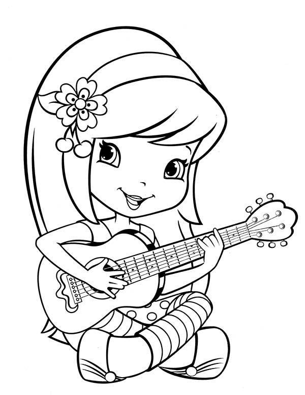 Strawberry Shortcake, : Strawberry Shortcake Learn to Play Guitar Coloring Page