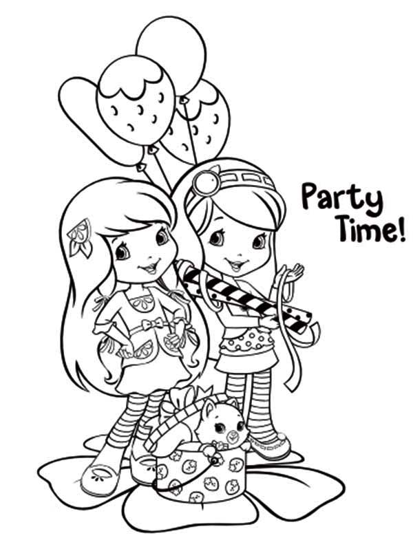 Strawberry Shortcake, : Strawberry Shortcake Party Time Coloring Page