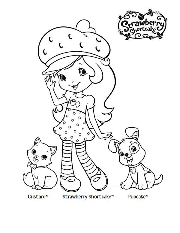 Strawberry Shortcake, : Strawberry Shortcake Taking Picture with Her Pet Custard and Pupcake Coloring Page