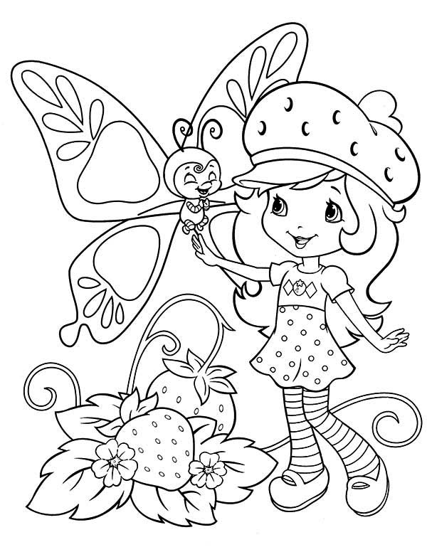 Strawberry Shortcake, : Strawberry Shortcake Talking to Strawberry Fairy Coloring Page
