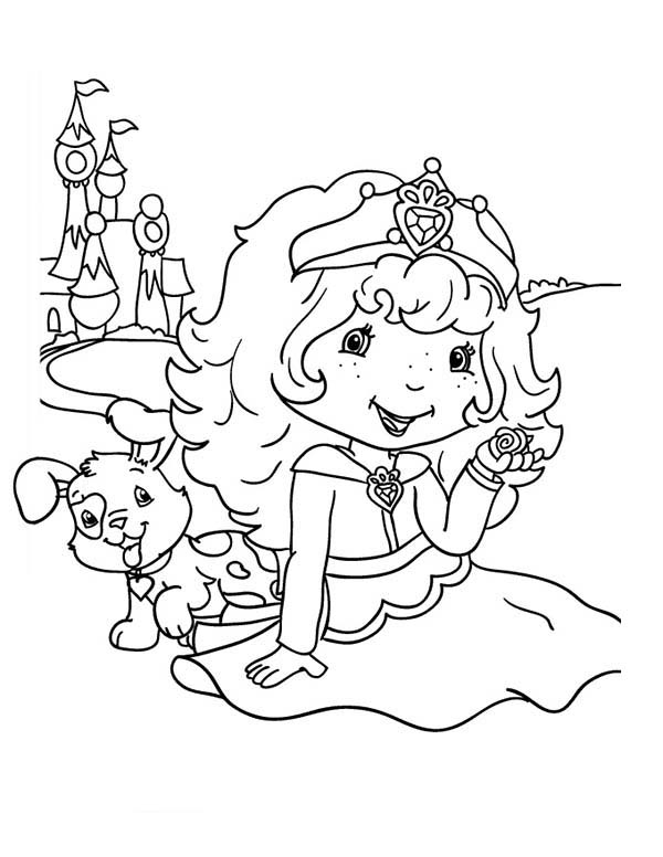 Strawberry Shortcake, : Strawberry Shortcake Wear Beautiful Crown Play with Pupcake Coloring Page