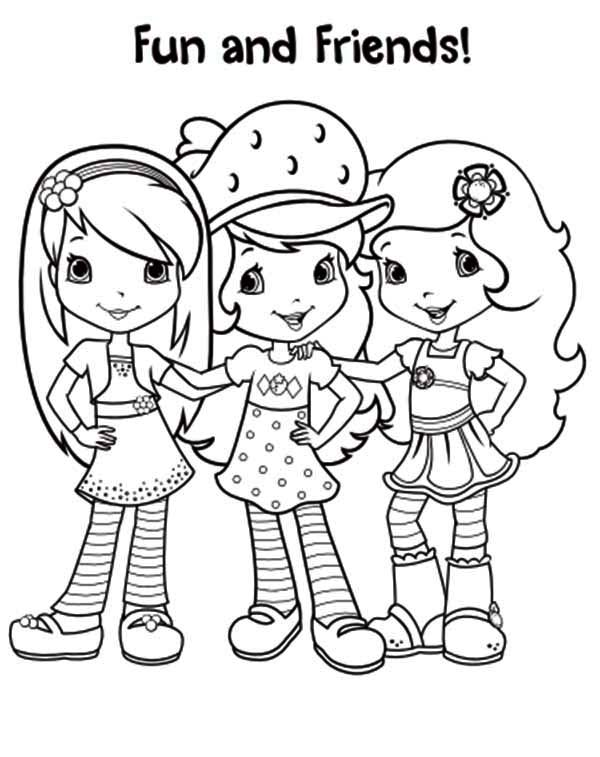 Strawberry Shortcake, : Strawberry Shortcake and Friends are Ready to Partying Coloring Page