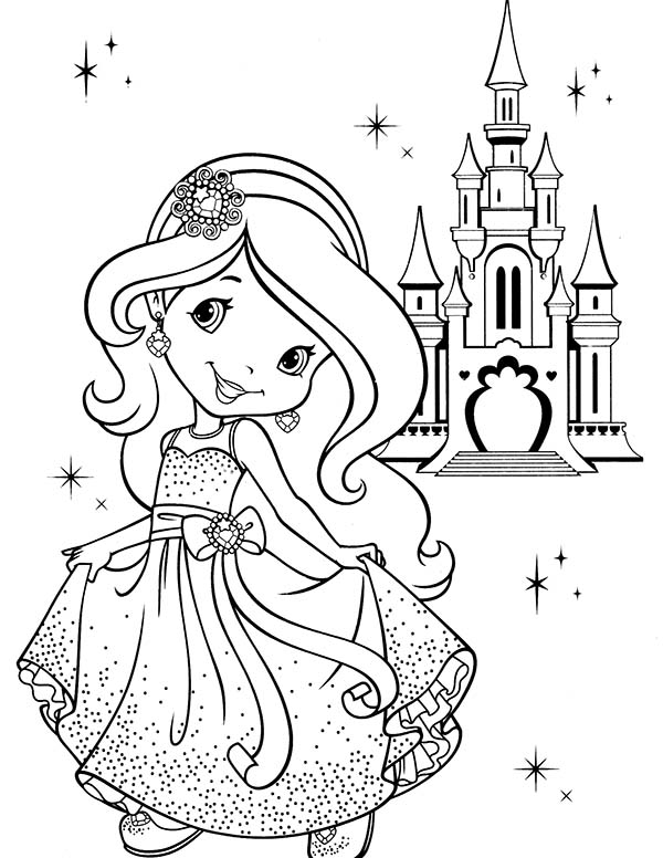 Strawberry Shortcake, : Strawberry Shortcake and Strawberryland Castle Coloring Page