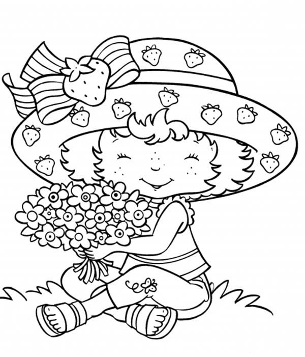 Strawberry Shortcake, : Strawberry Shortcake and a Bouquet of Flower Coloring Page
