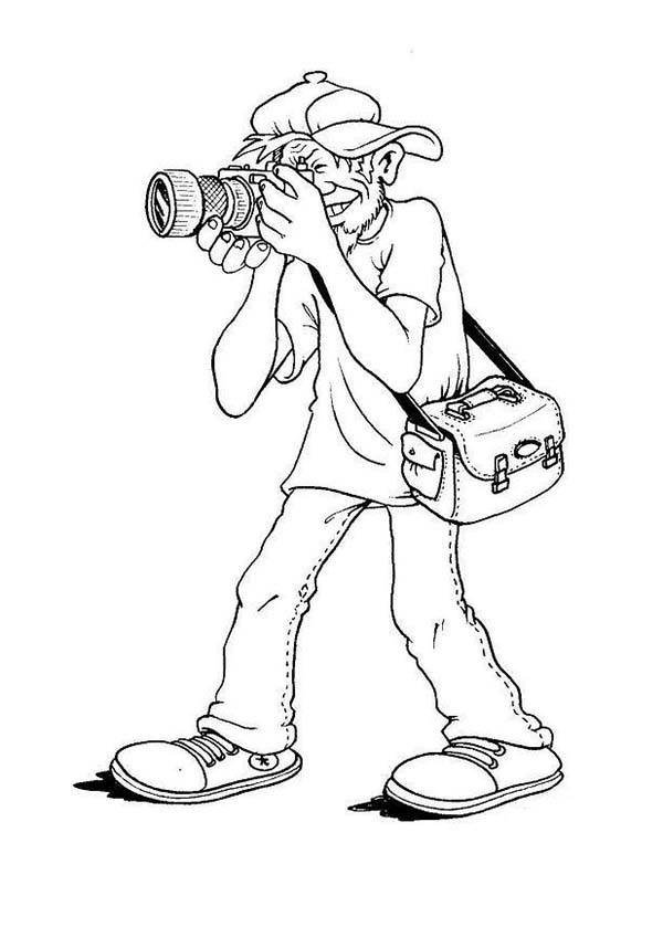 Photography, : Street Photographer in Photography Coloring Page