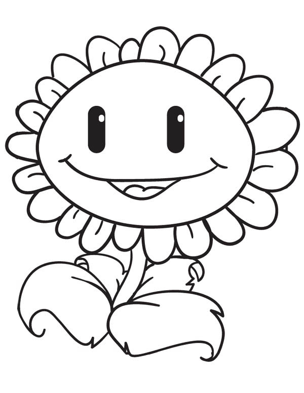 Plant vs Zombie, : Sunflower Sweet Smile in Plant vs Zombie Coloring Page