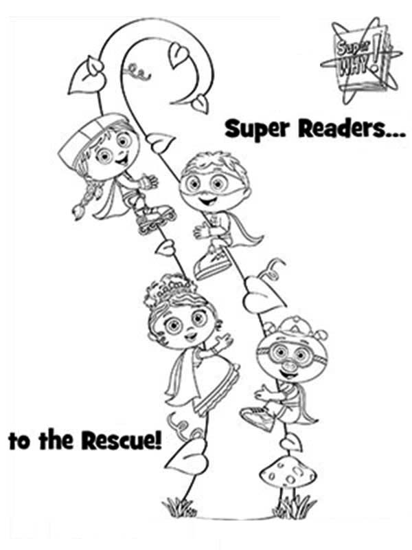 Superwhy, : Superwhy Characters in Jack and the Beanstalk Coloring Page