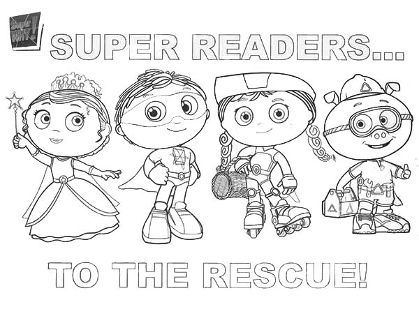 Superwhy, : Superwhy Characters to the Rescue Coloring Page