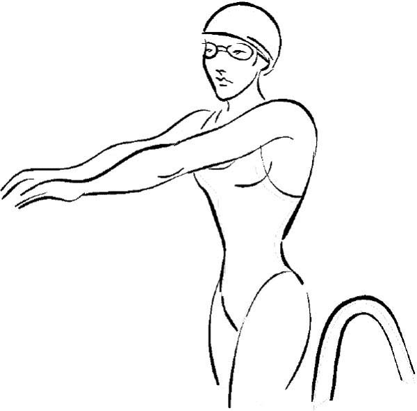 Olympic Games, : Swimming Athlete at Olympic Games Coloring Page