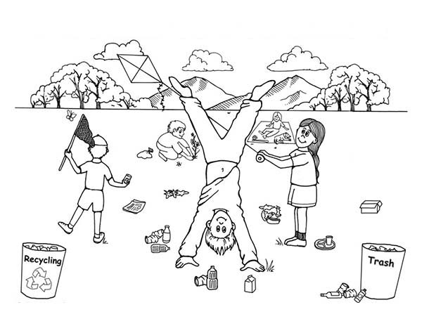 Recycling, : Take Children on Recycling Activity Coloring Page