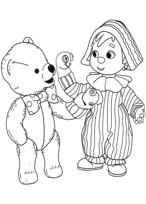 Puppet, : Teddy Bear and Little Boy Play with Glove Puppet Coloring Page