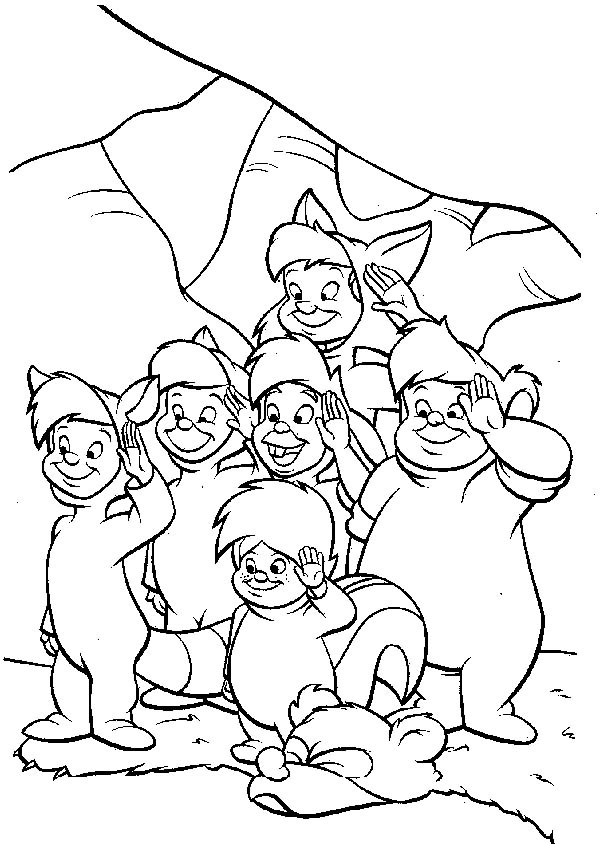 Peter Pan, : The Awesome Lost Boys in Peter Pan Coloring Page