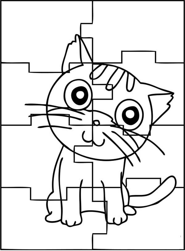 Puzzles, : The Cute Cat Puzzles Coloring Page