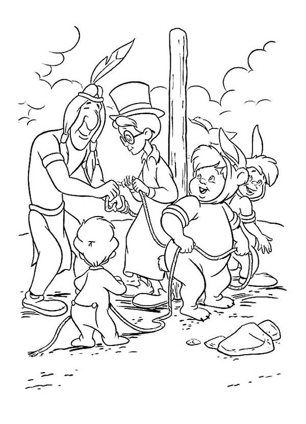 Peter Pan, : The Lost Boys Saved by Old Indian in Peter Pan Coloring Page