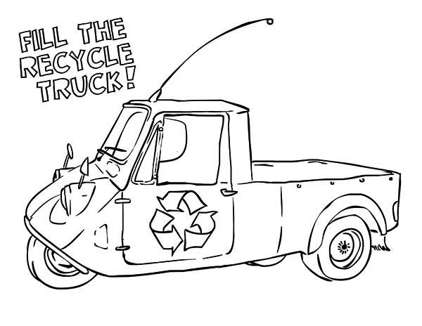 Recycling, : The Recycling Truck Coloring Page