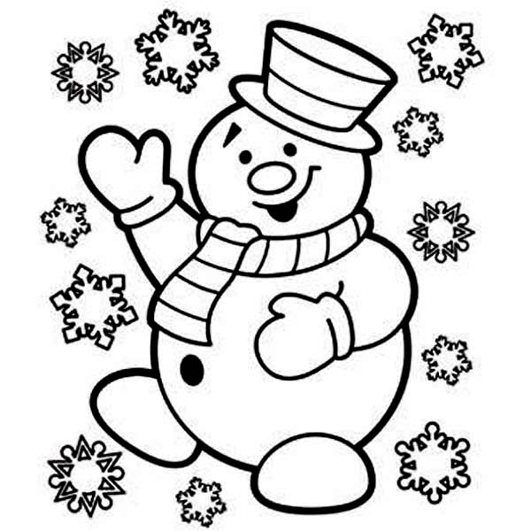 Christmas, : The Snowman is Very Joyful on Christmas Coloring Page