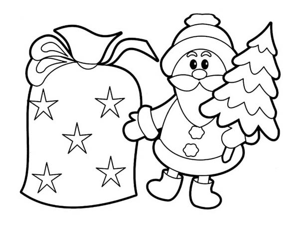 Christmas, : Tiny Santa Claus Ornament on Christmas Coloring Page
