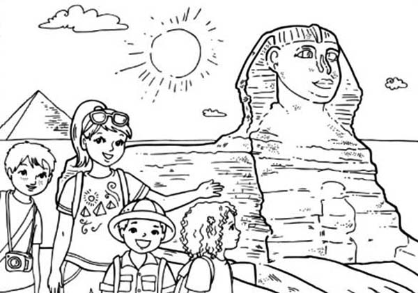 Pyramid, : Tourist Taking Picture in Front of Pyramid and Sphinx Coloring Page