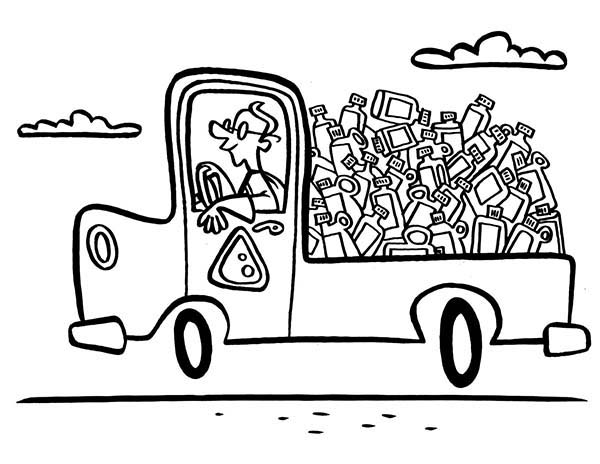 truck of recycling waste coloring page   coloring sky