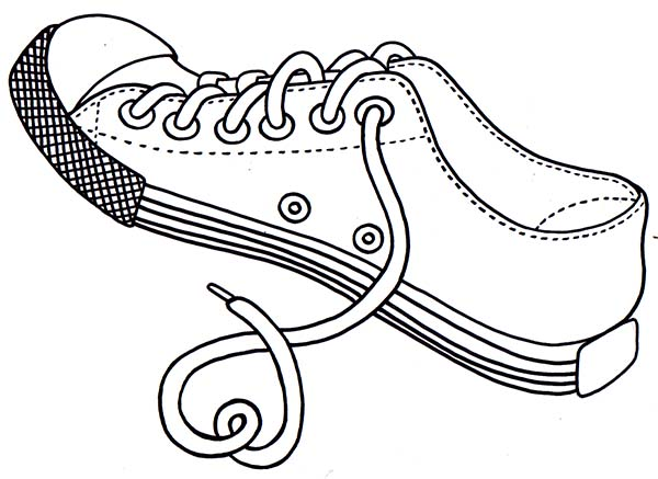 Shoes, : Untied Shoes Rope Coloring Page