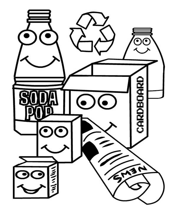 Recycling, : Various Waste for Recycling Coloring Page