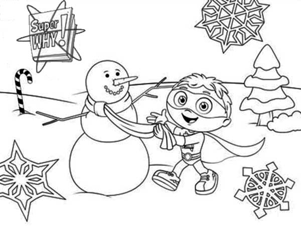 Superwhy, : Whyatt Beanstalk Make Big Snowman in Superwhy Coloring Page