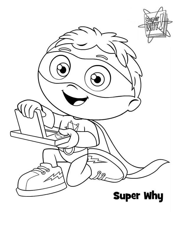 Superwhy, : Whyatt Beanstalk and Why Writer in Superwhy Coloring Page