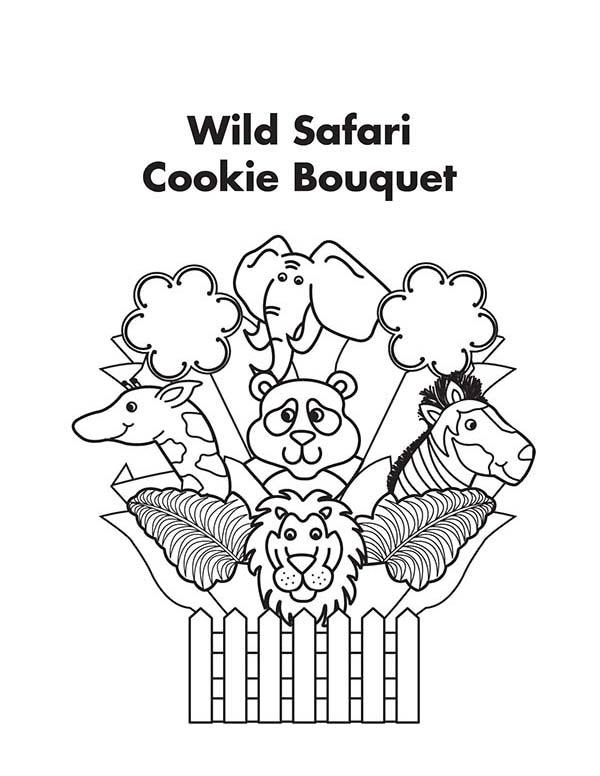 Safari, : Wild Safari Cookie Bouquet Coloring Page