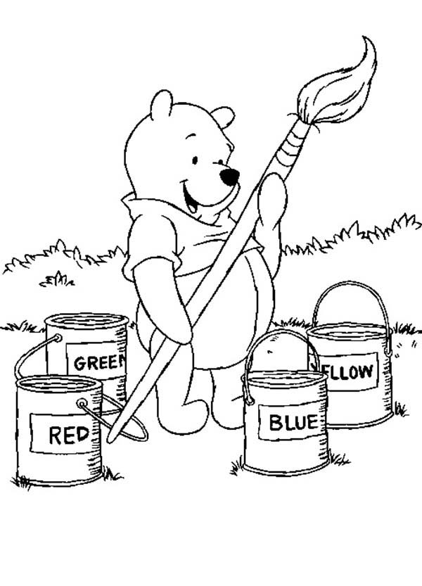 Paint, : Winnie the Pooh Big Brush and Paint Bucket Coloring Page