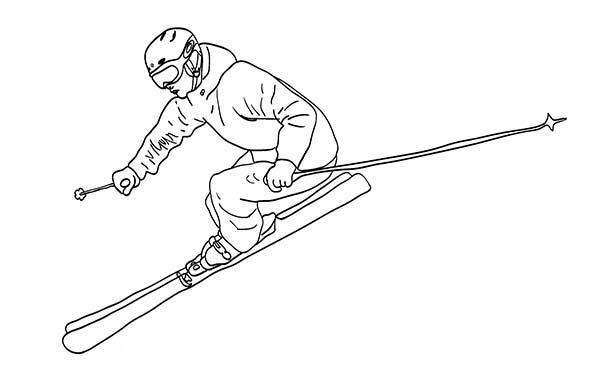 Skiing, : Winter Skiing Coloring Page
