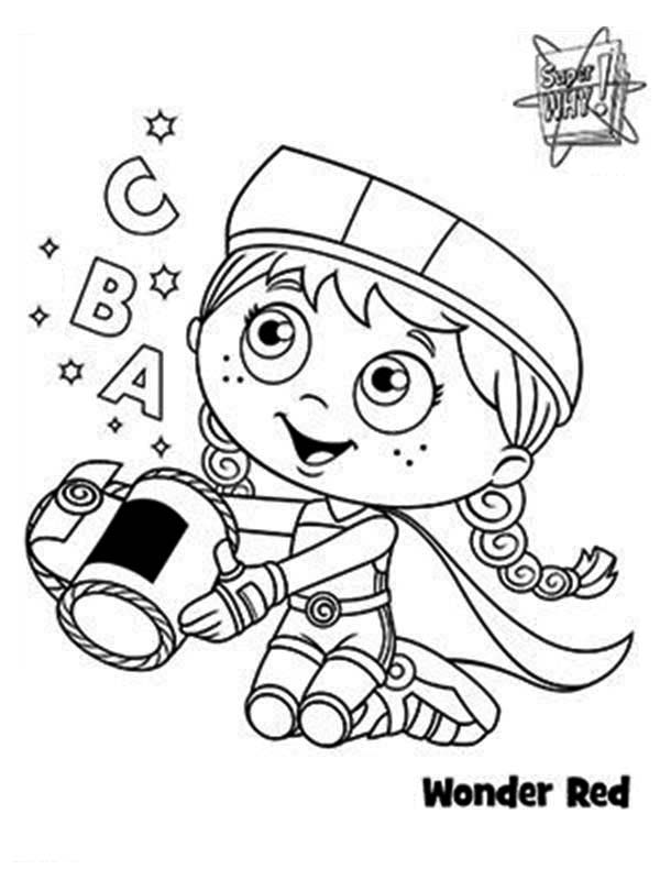 Superwhy, : Wonder Red Alphabet Basket in Superwhy Coloring Page