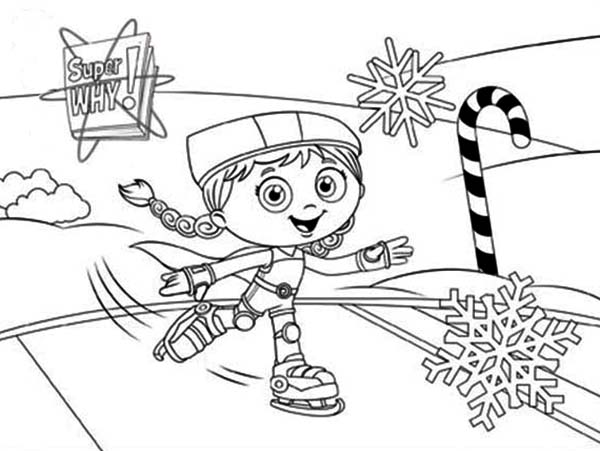 Superwhy, : Wonder Red Slide on Ice with Roller Skate in Superwhy Coloring Page