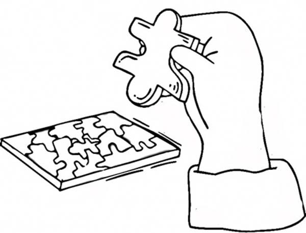 Puzzles, : Working on Puzzles Coloring Page