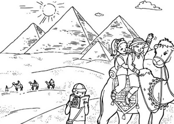 World Tourist Destination Egypt Pyramid Coloring Page