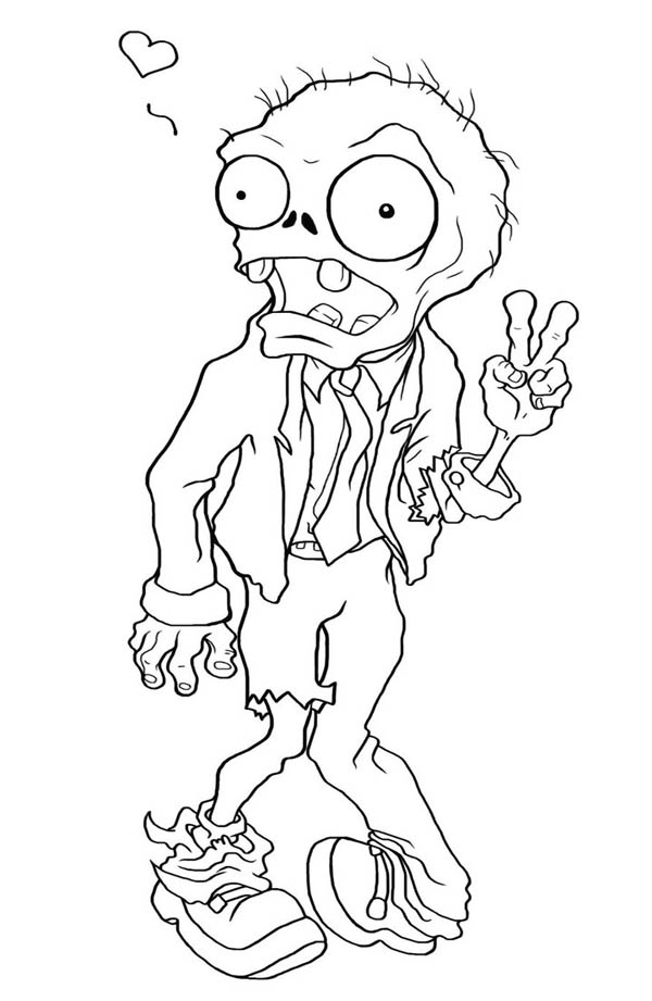 Zombie Falling In Love In Plant Vs Zombie Coloring Page