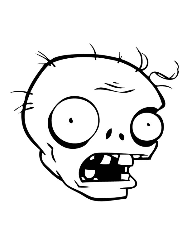 Zombies Head In Plant Vs Zombie Coloring Page : Coloring Sky