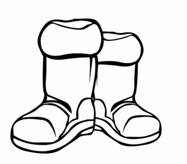 boots for winter season in coloring page sky